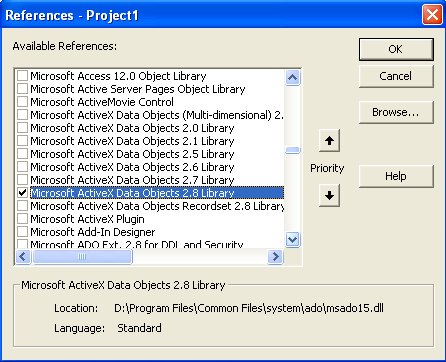 How to add Microsoft ActiveX Data Objects 2.8 Library