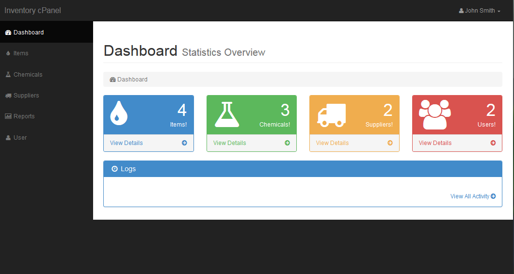 chemicals and lab equipment inventory system in php mysql