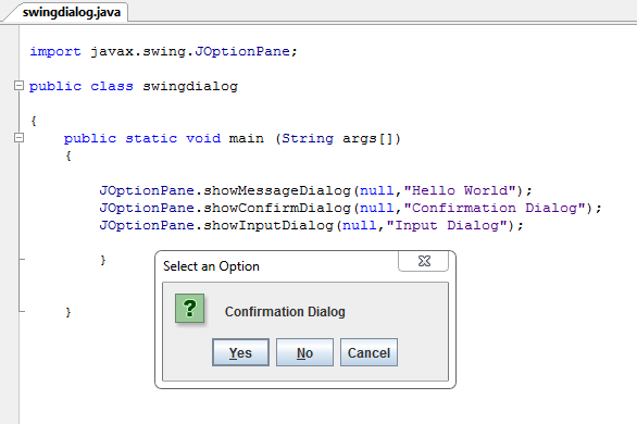 Joptionpane In Java Inettutor Com