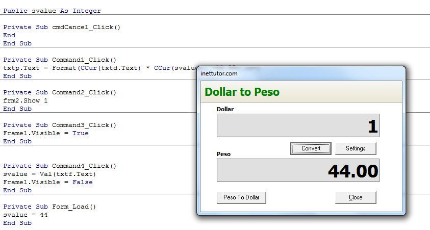 dollar to peso converter in visual basic 6 inettutor com
