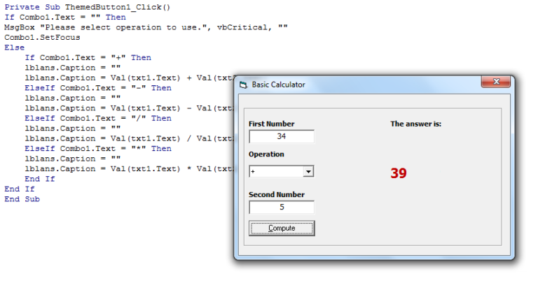 visual basic how to make a simple calculator