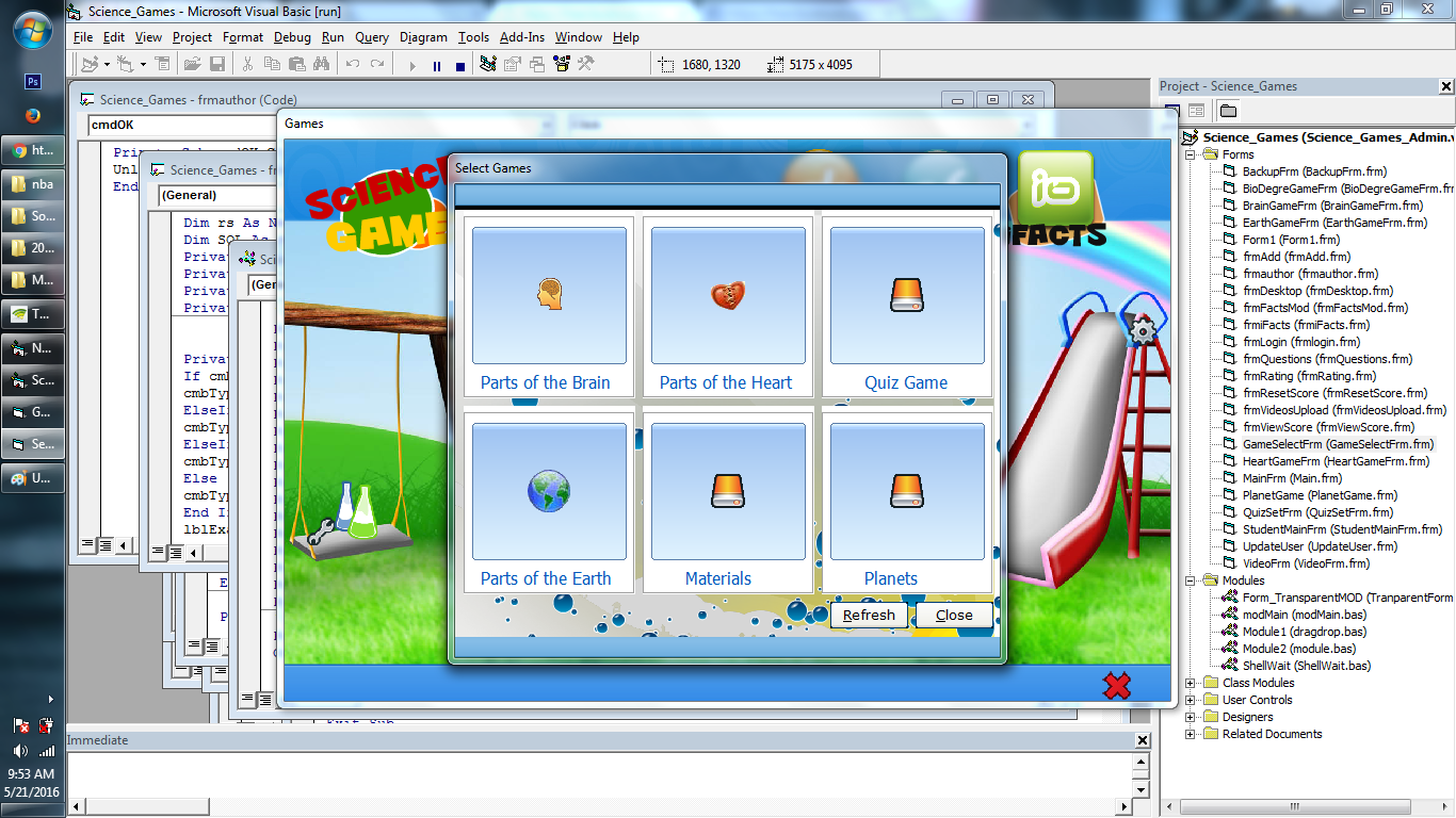 Science Learning Game in Visual Basic