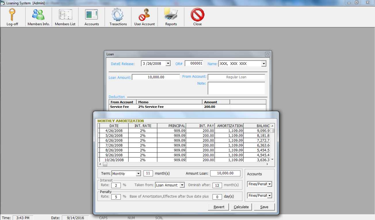 Loaning System in Visual Basic