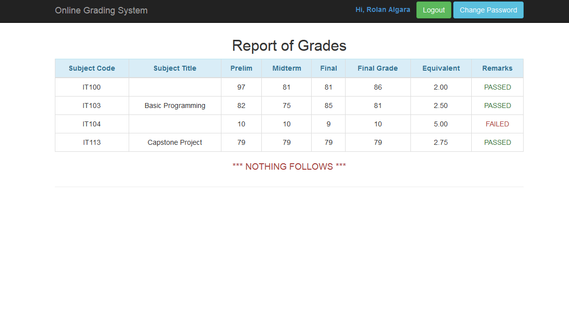 online grading system thesis
