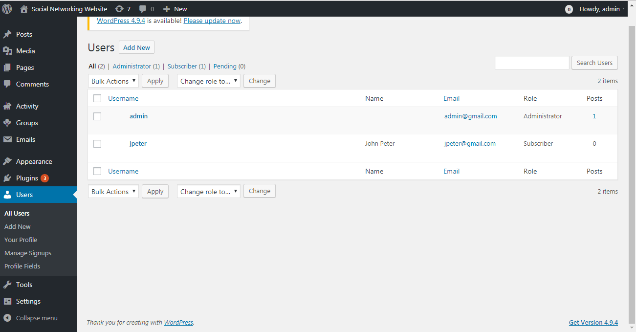 Manage Users Page