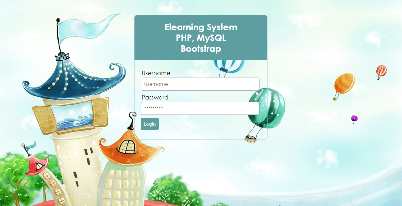 Elearning System in PHP and MySQL Login page