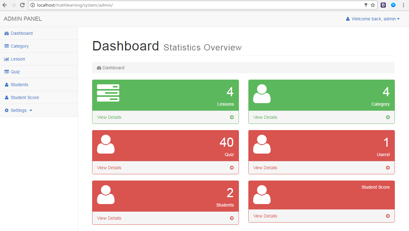 ELearning System for Math Dashboard Page