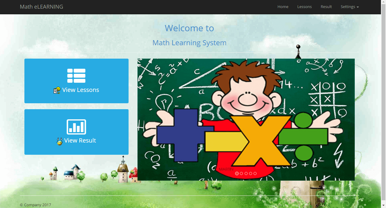 ELearning System for Math Student Home Page