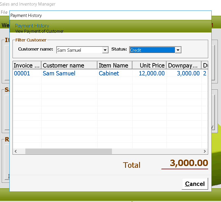 Furniture System Customer Payment History Module