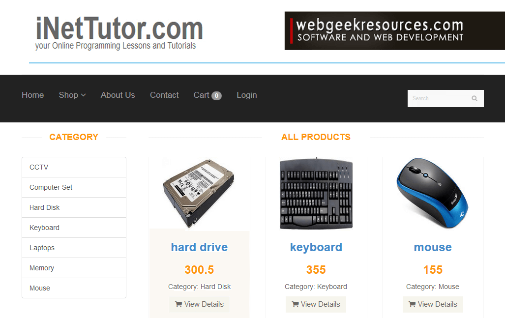 Online Store Application Product Catalog Module