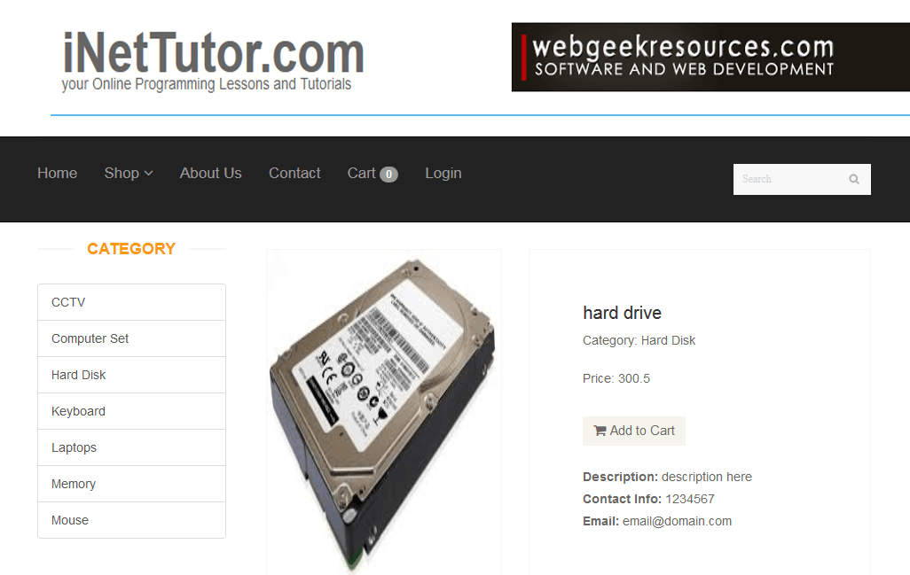 Online Store Application Product Detail Module