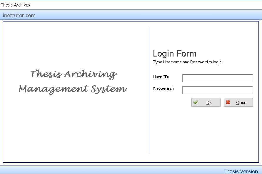 Thesis Archiving System Login Form