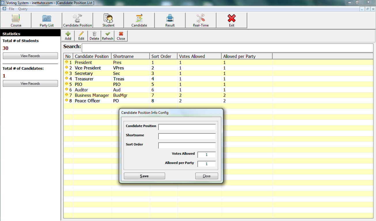 Voting System Candidate Position Module