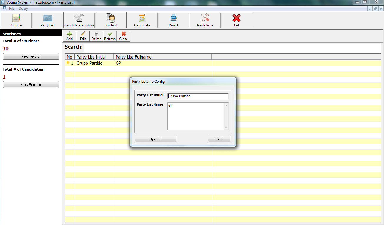 Voting System Encoding of Party List Module