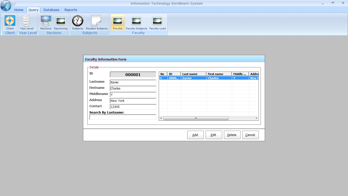 Enrolment with Faculty Loading Faculty Information Encoding Form