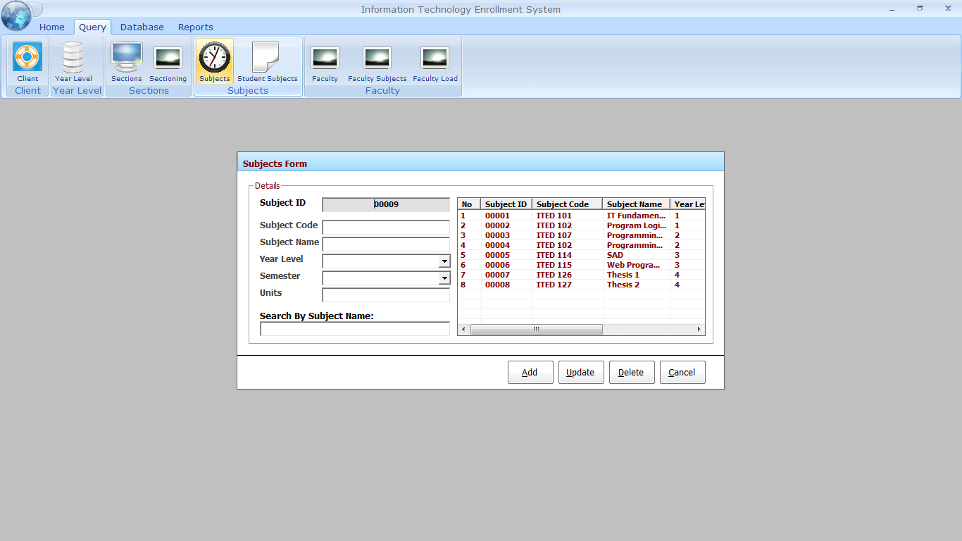 Enrolment with Faculty Loading Subject Encoding Form