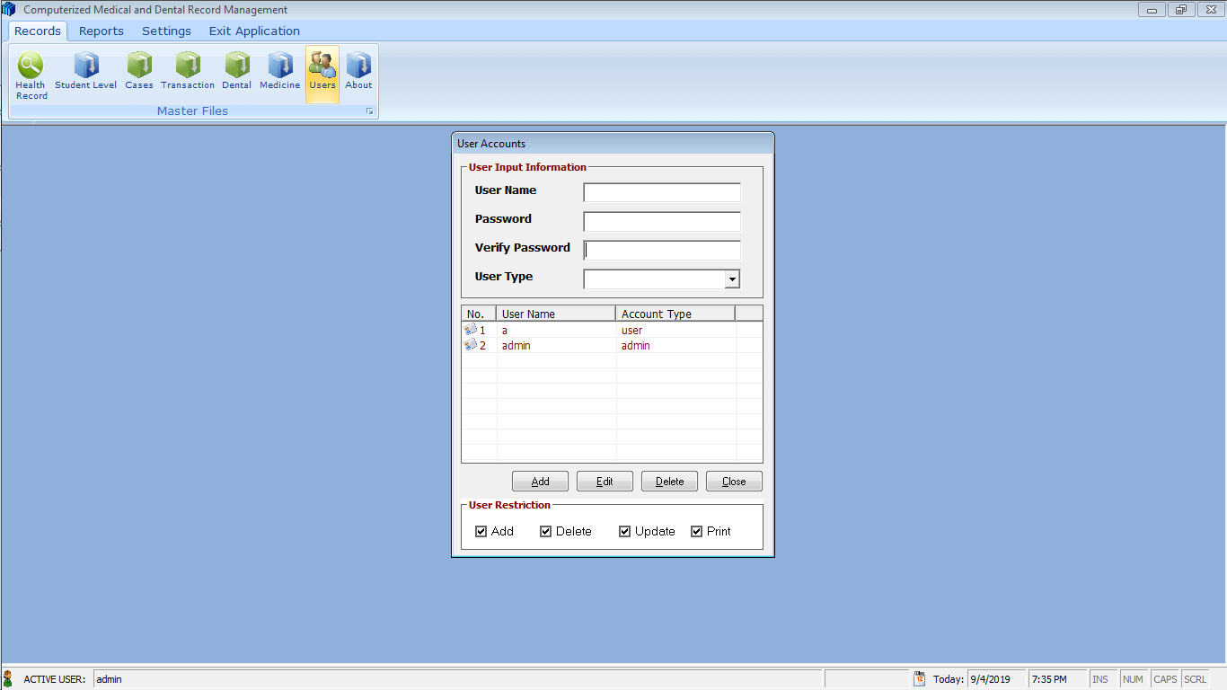 Medical and Dental Record System User Account Form