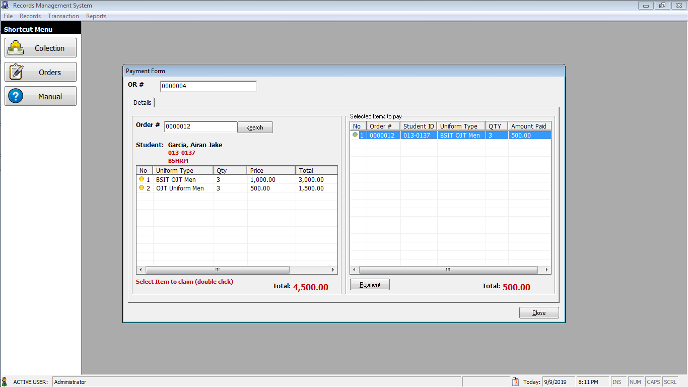 Records Management System Payment Form