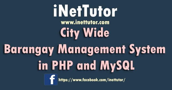 City Wide Barangay Management System in PHP and MySQL