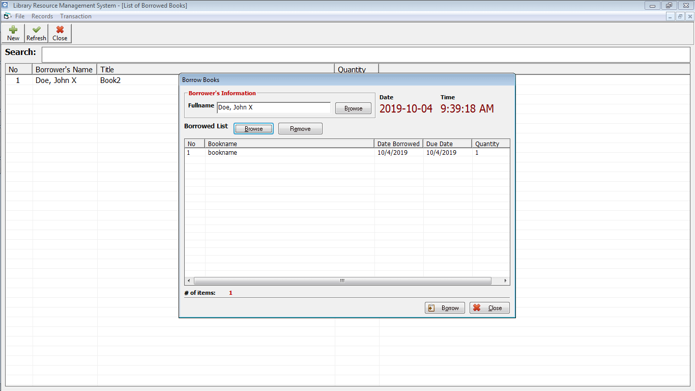 Library Resource Management System Borrowing Form
