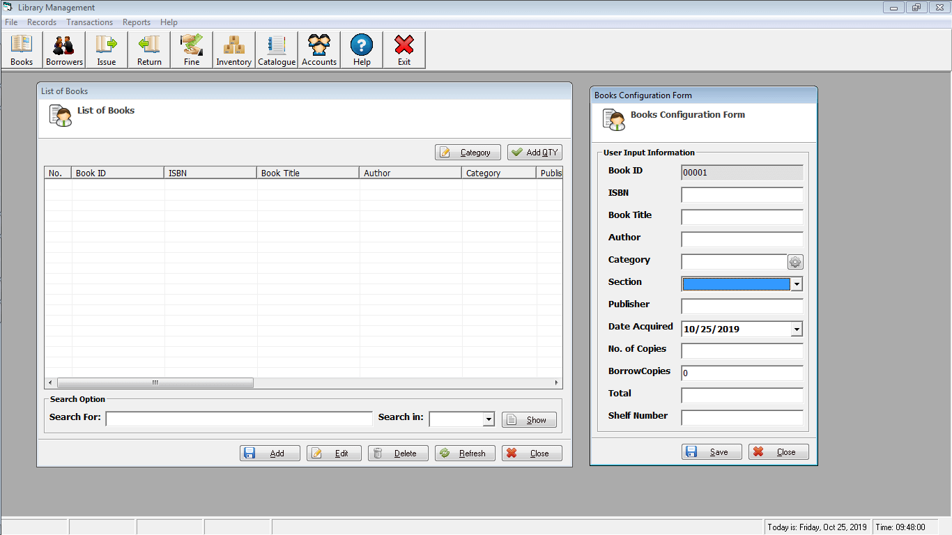 Library Time Monitoring System Book Encoding Form