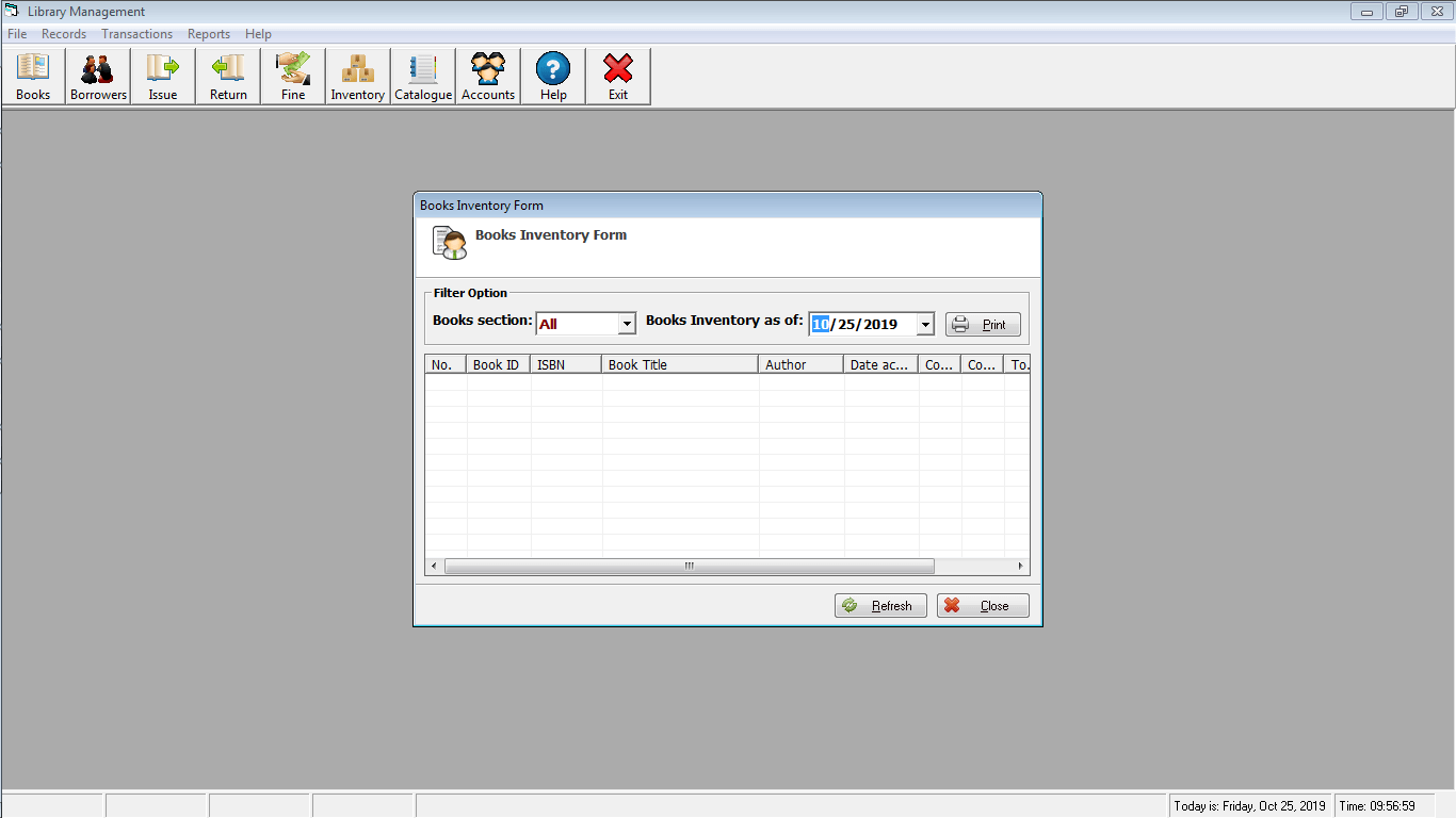 Library Time Monitoring System Book Inventory Form