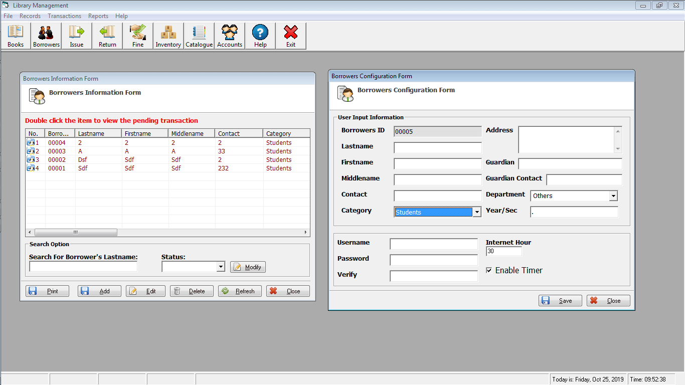 Library Time Monitoring System Borrower Encoding and Timer Entry Form