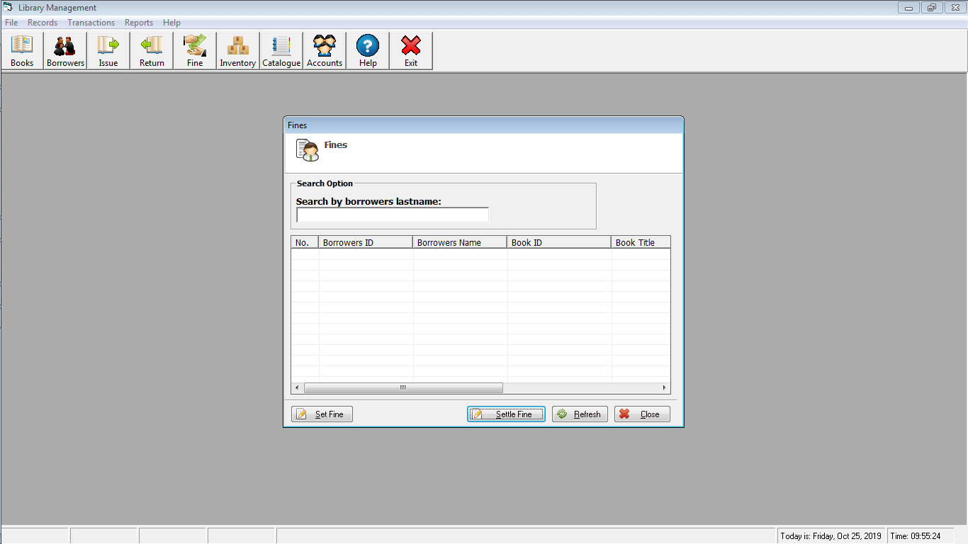 Library Time Monitoring System Fine Settlement Form
