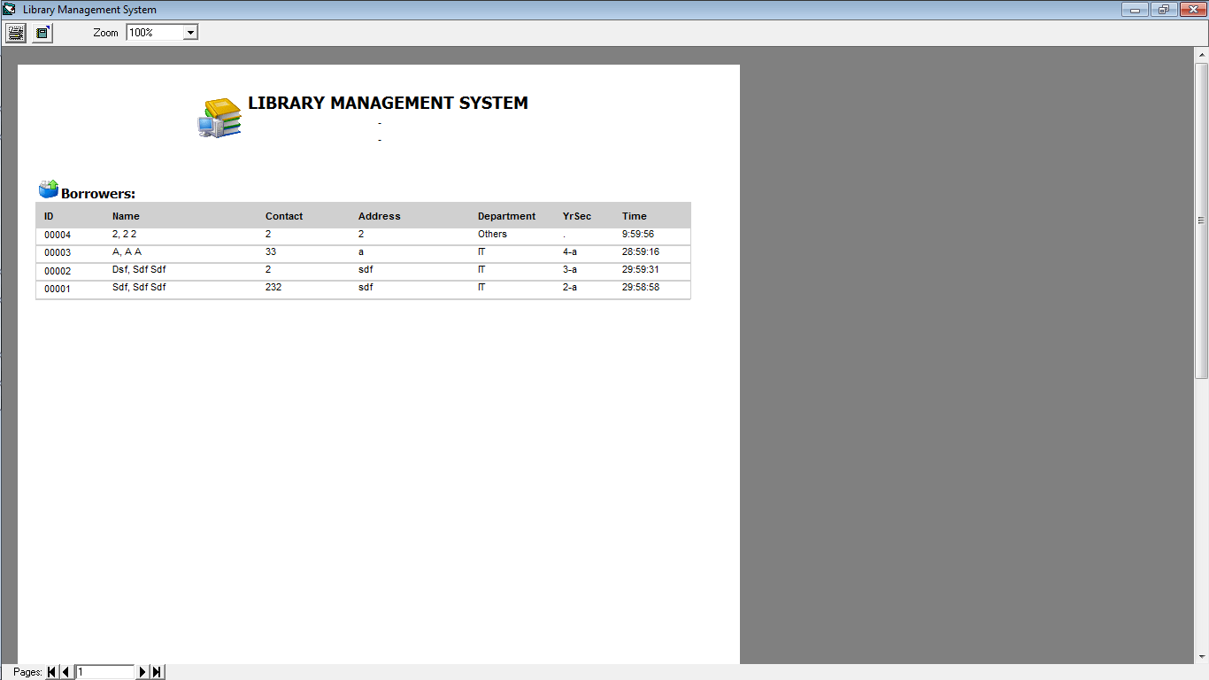 Library Time Monitoring System List of Borrowers Report