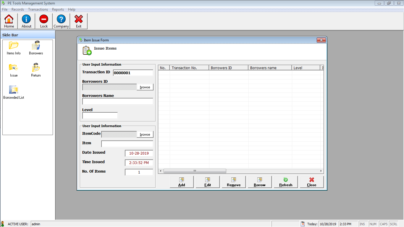 PE Tools System Borrowing of Items Module