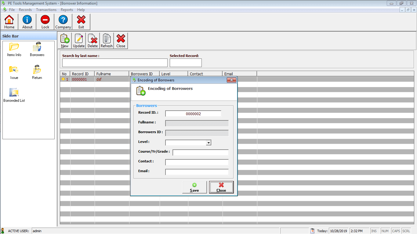 PE Tools System Encoding of Borrowers Module