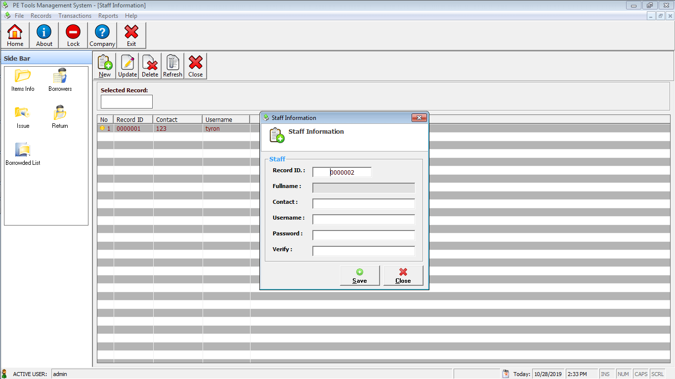 PE Tools System Encoding of Staff Accounts Module