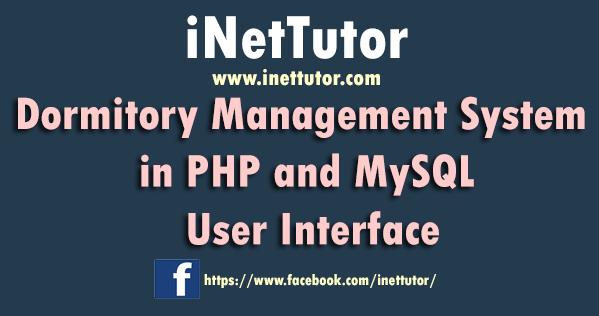 Dormitory Management System in PHP and MySQL User Interface