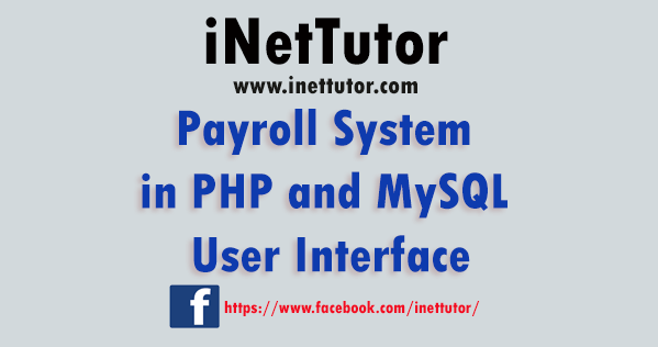 Payroll System in PHP and MySQL User Interface