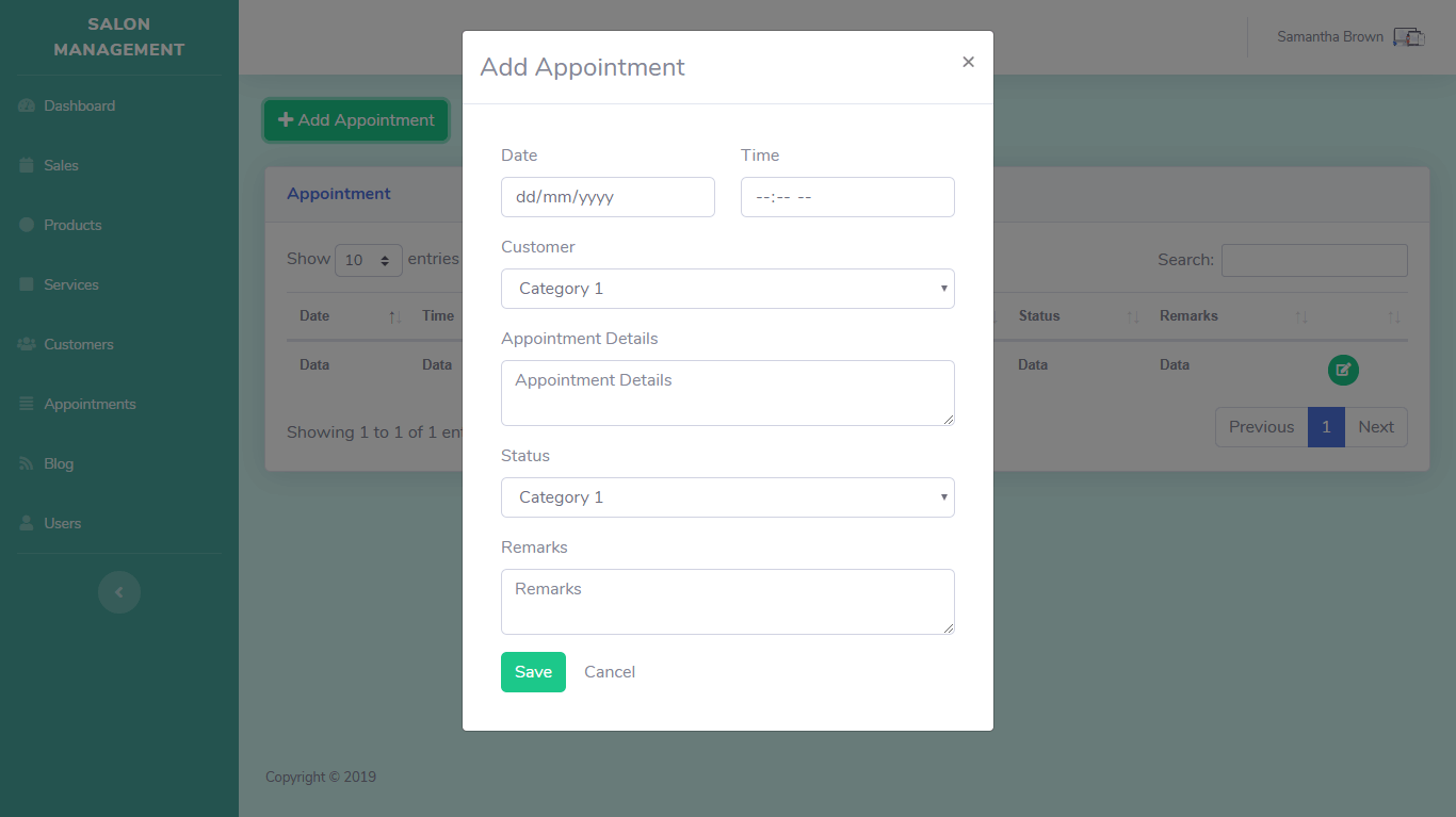 Salon Management System Appointments Module