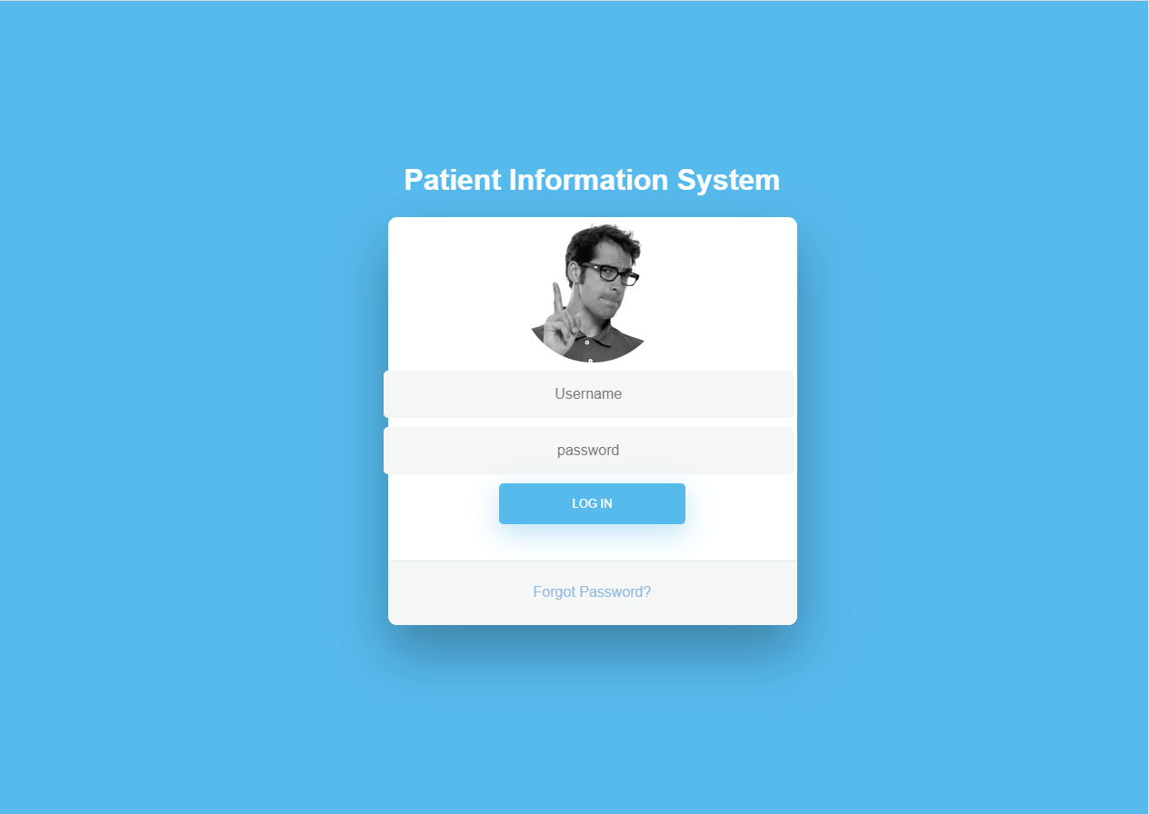 Patient Information System Login Form