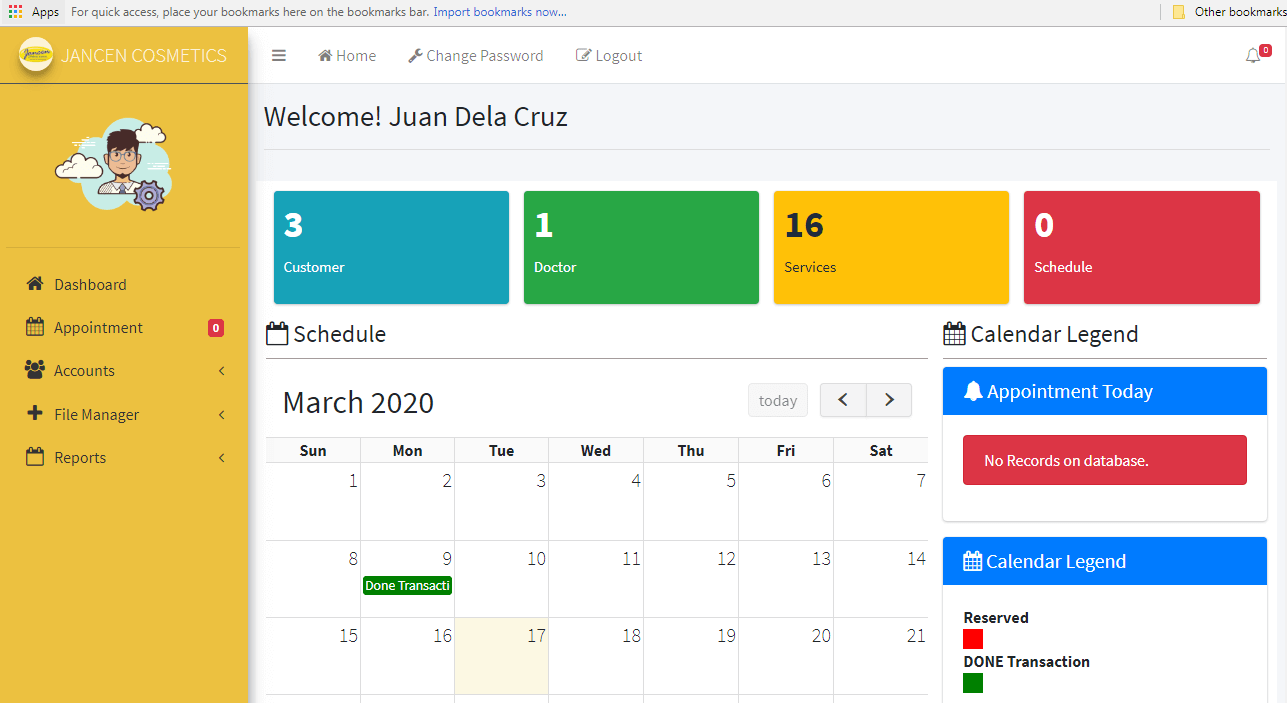 Appointment System Admin Dashboard