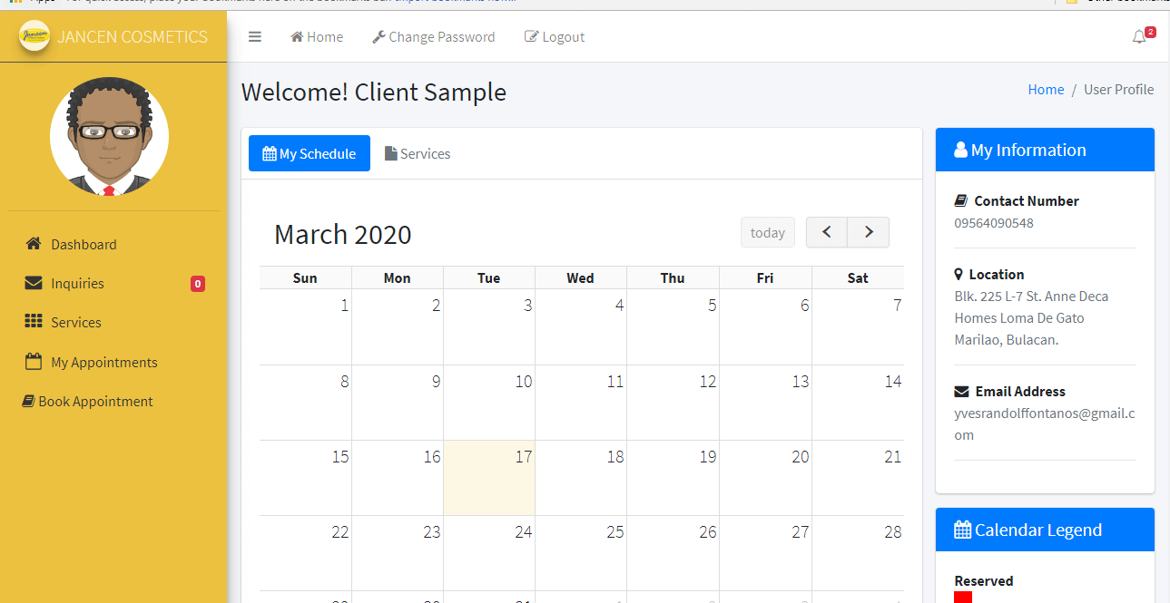 Appointment System Client Schedule Information Form