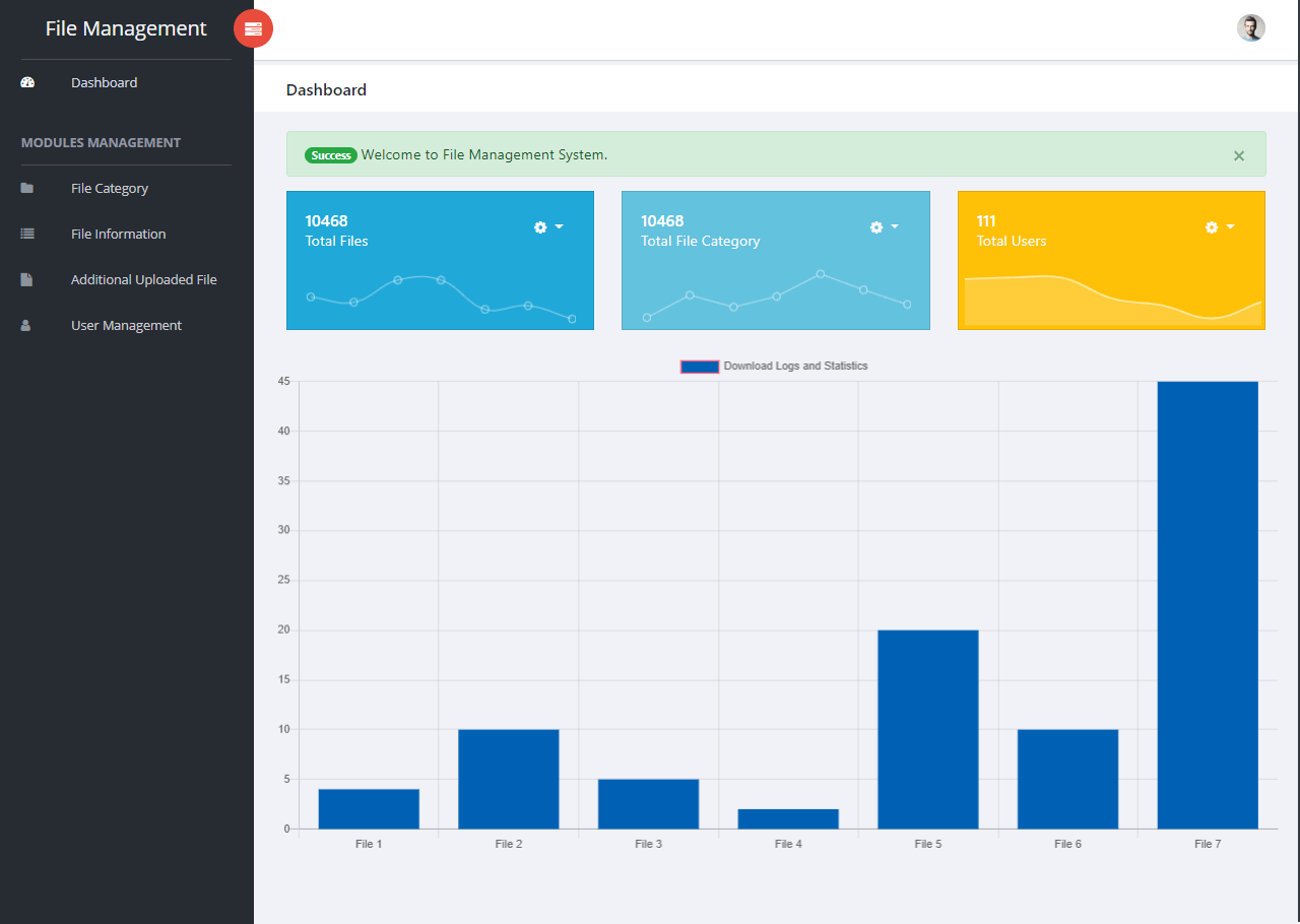 File Management System Dashboard