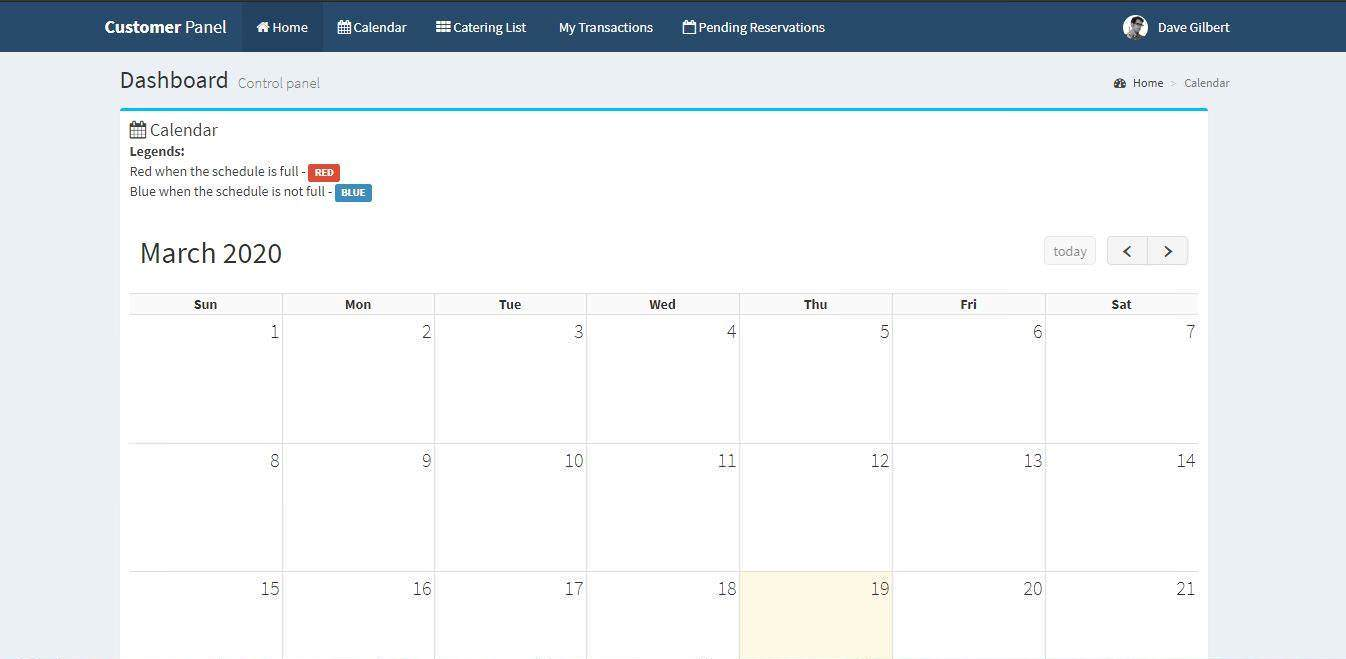 Online Catering System Calendar Feature