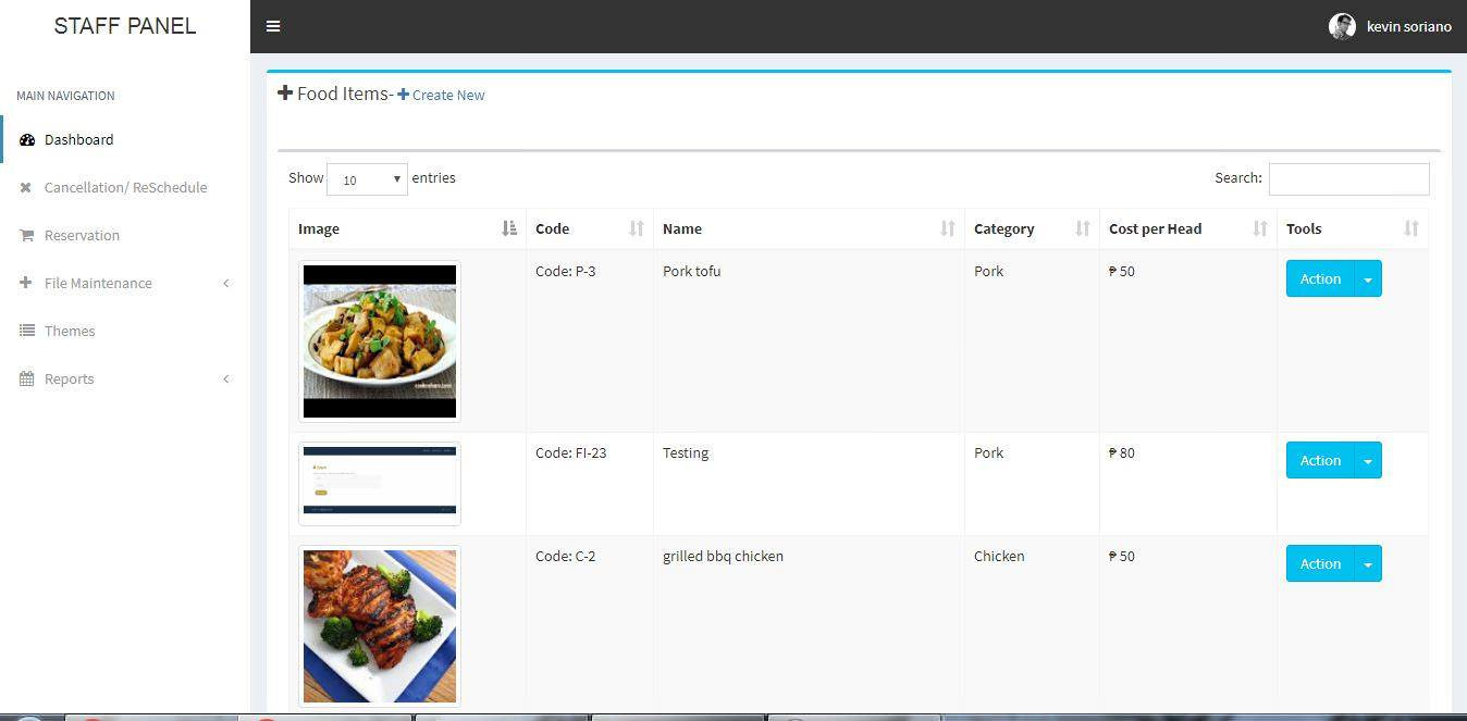 Online Catering System Food Items Information