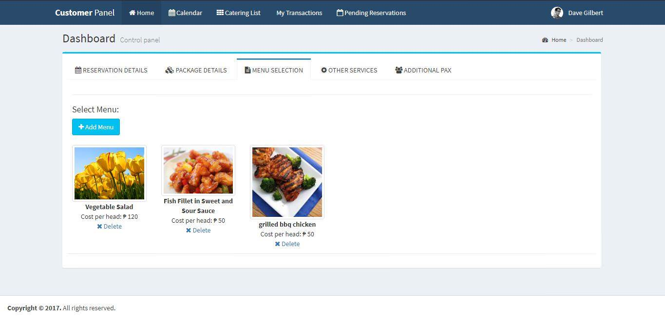 Online Catering System Menu Selection