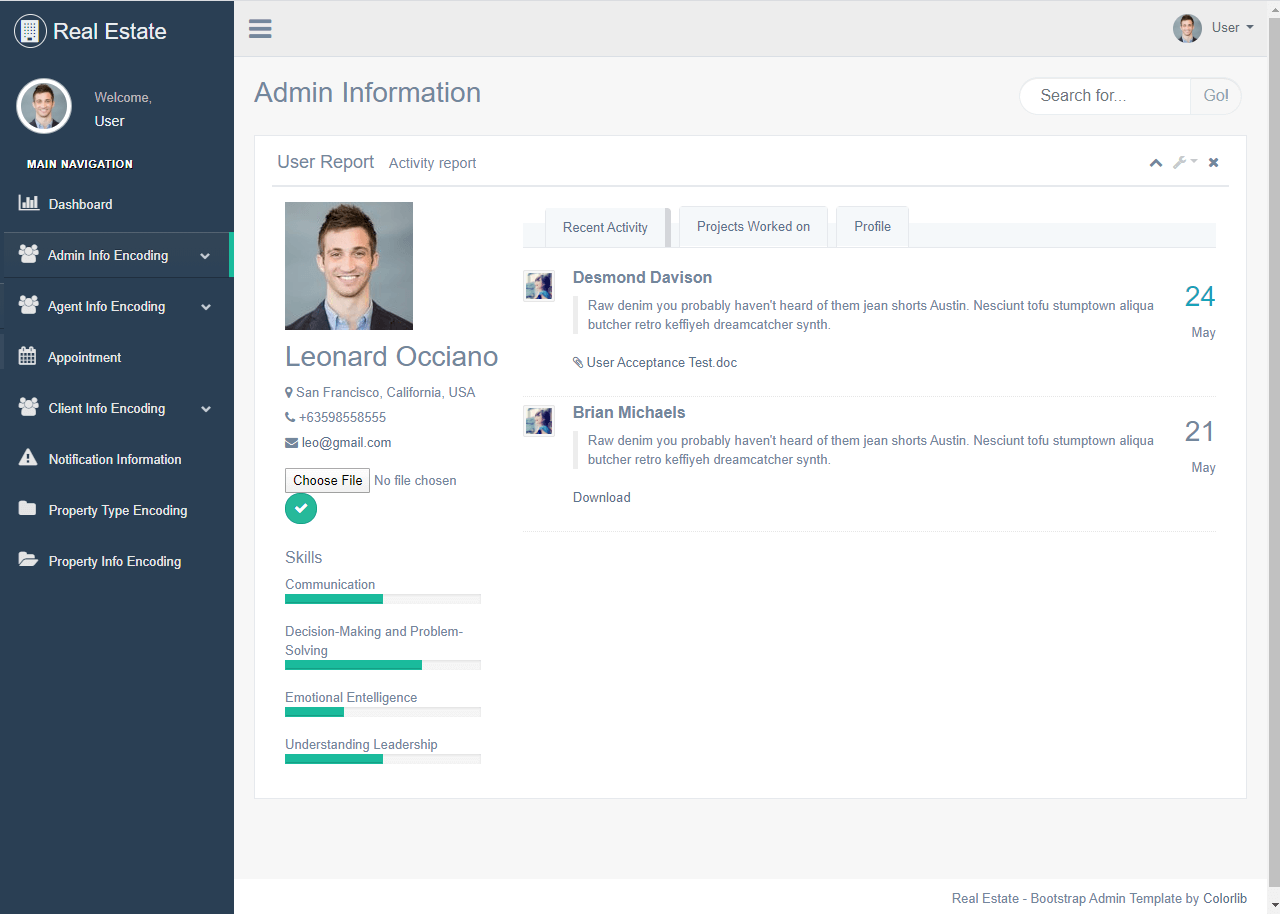 Real Estate System Admin Profile Page