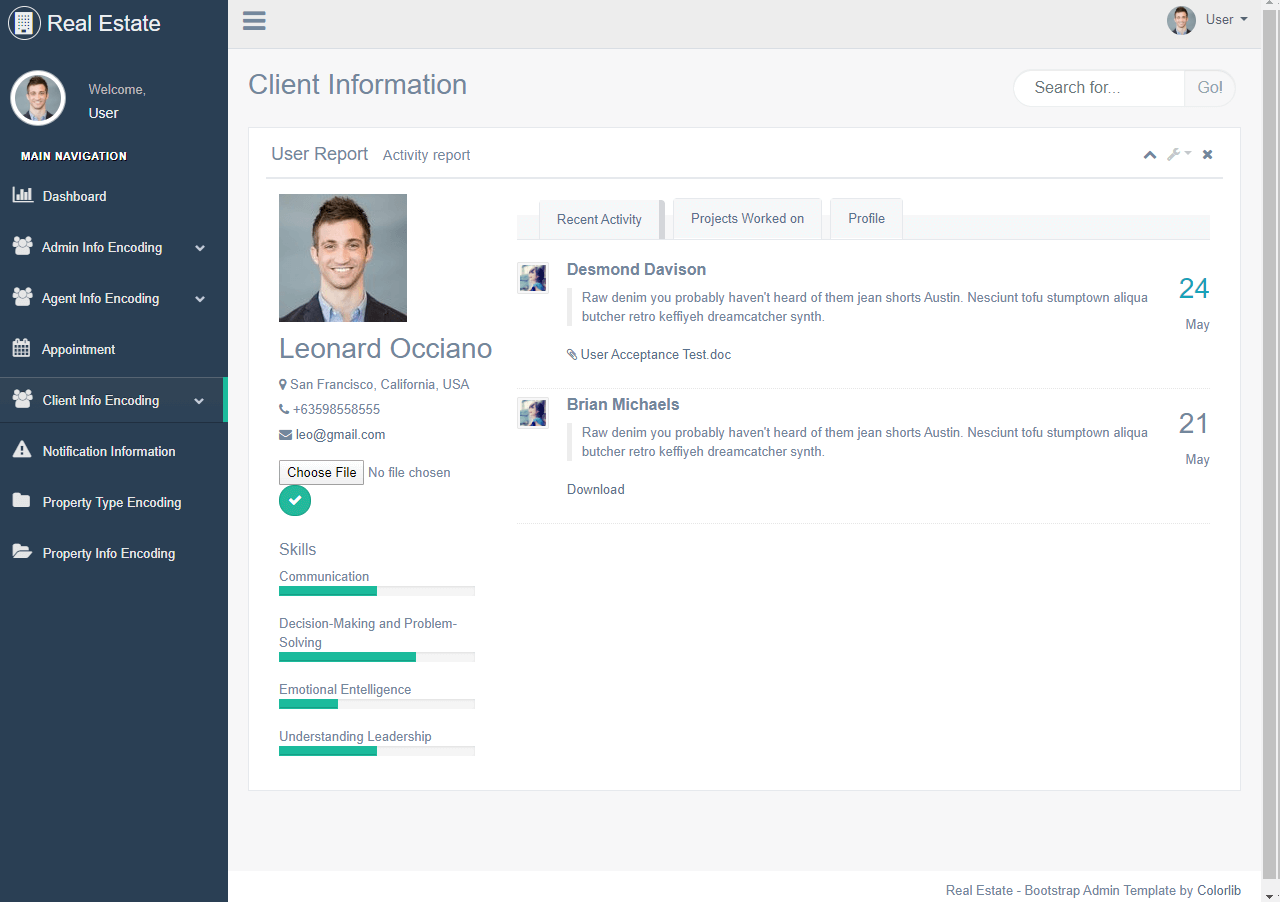 Real Estate System Client Profile Page