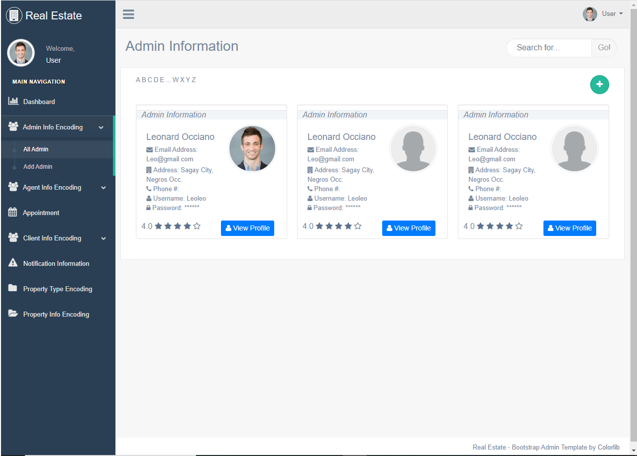 Real Estate System List of Admin Accounts