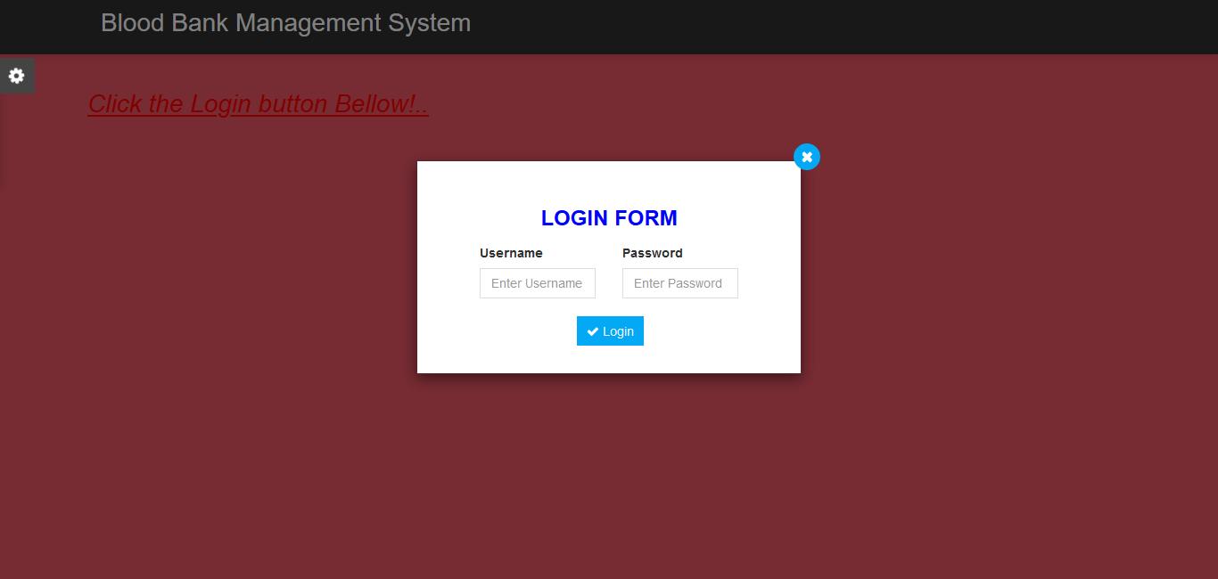 Blood Bank Management System Login Form