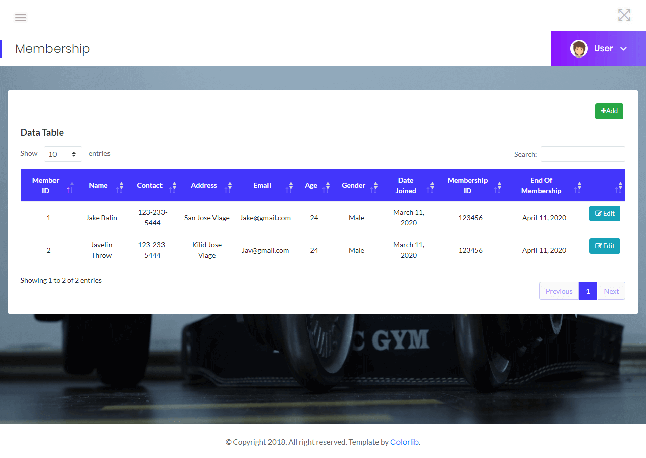 Gym Management List of Members Information