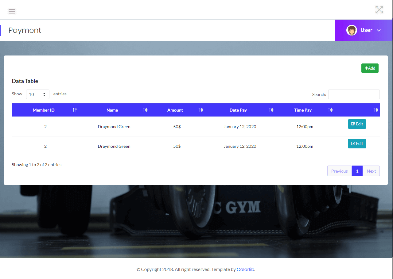 Gym Management List of Payment Information