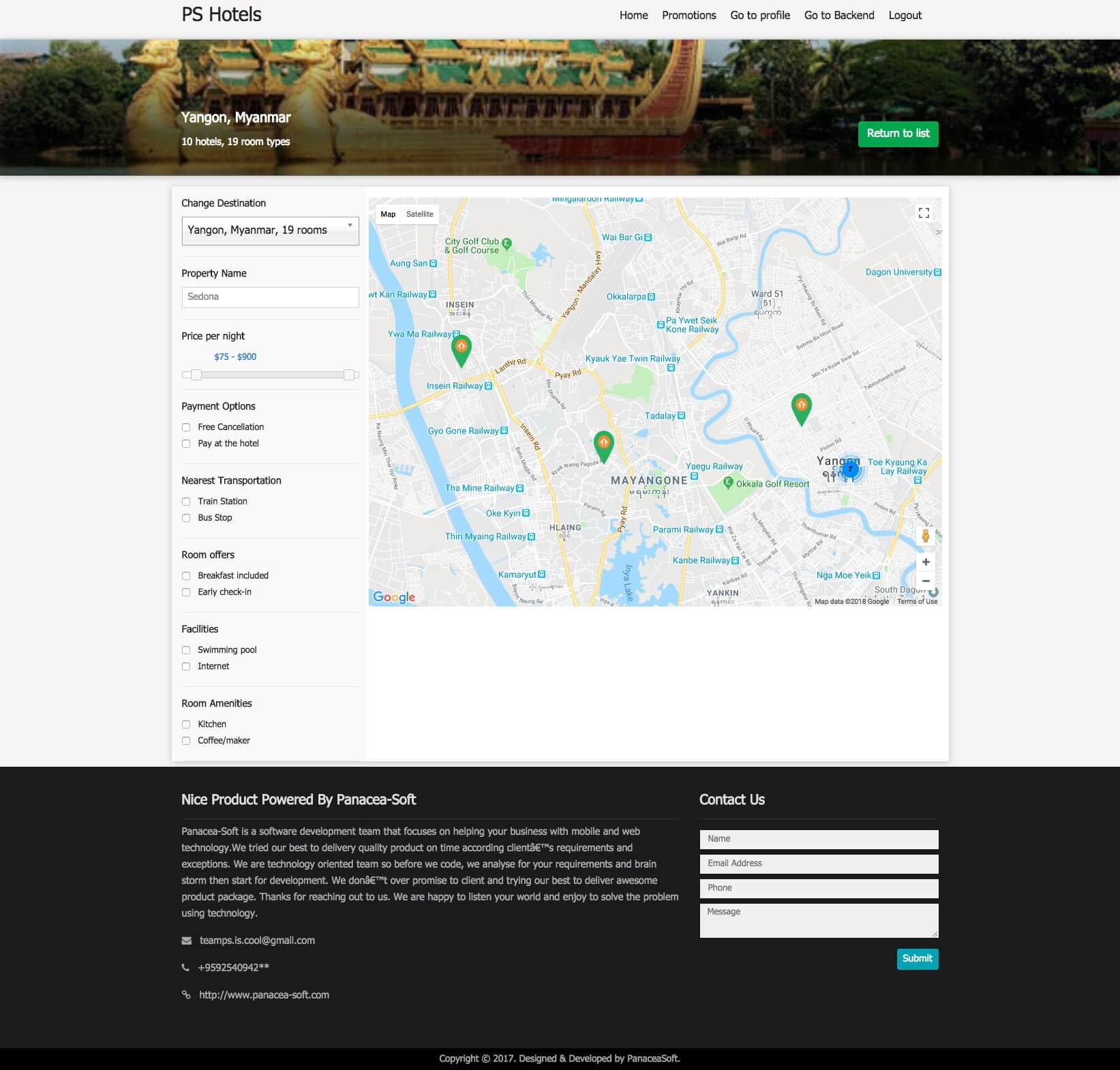 Multi Hotel Management System Hotel Map Page