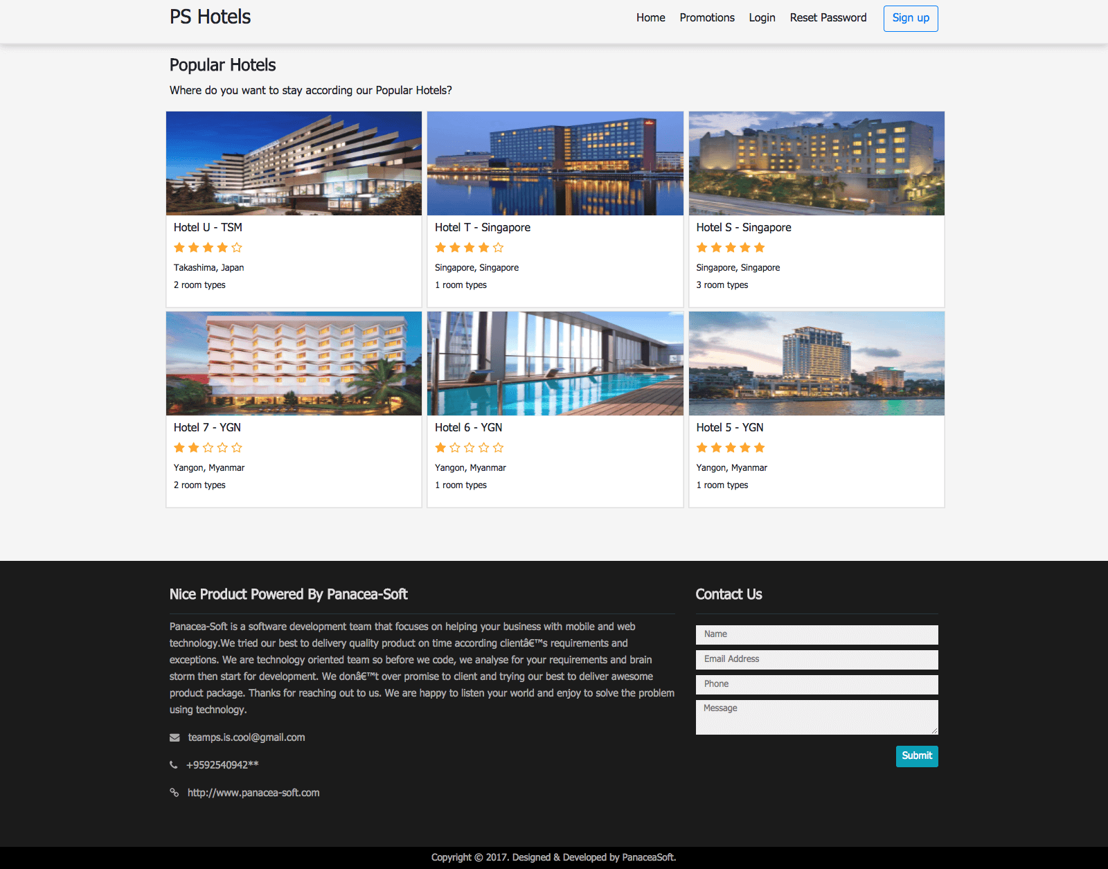 Multi Hotel Management System Popular Hotel Page